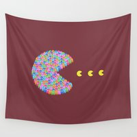 pacman Wall Tapestries featuring pacman  by gazonula