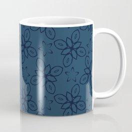 Geometric Flower Motif Faded Denim Coffee Mug