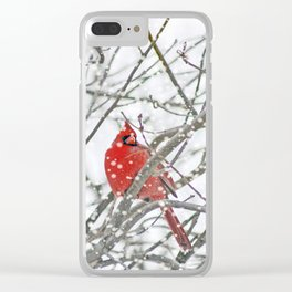 Snowy Winter Cardinal Clear iPhone Case