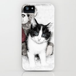 Valentines kitten and teddy iPhone Case