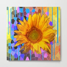 COLORFUL CARNIVAL YELLOW SUNFLOWER  ABSTRACT ART Metal Print