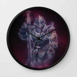 Medieval Knight Templar in Purple Smoke Wall Clock
