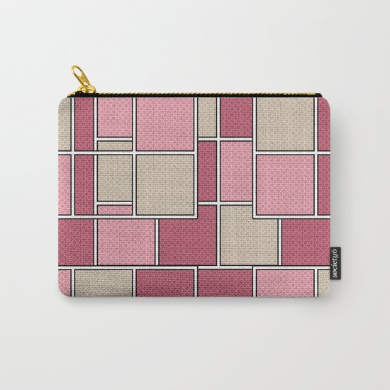 Pink beige check . Carry-All Pouch