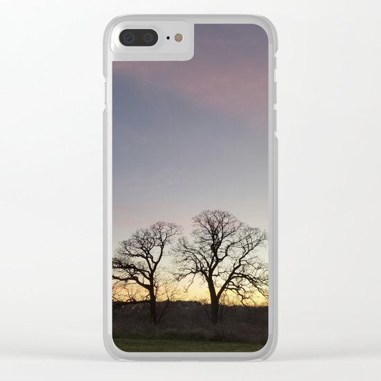 Autumn Sunset Silhouette - Pheasant Branch Conservancy Clear iPhone Case
