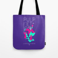 pulp fiction Tote Bags featuring Pulp Fiction by RJ Artworks