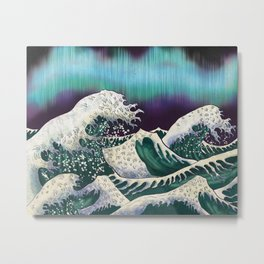 Northern Lights Ocean Waves Metal Print