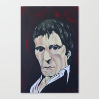 scarface Canvas Prints featuring scarface by kingtattoo