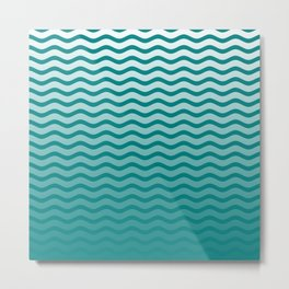 Teal and White Faded Chevron Wave Metal Print