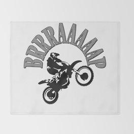 Brrraaaaap Checkered Flag Moto Language Throw Blanket