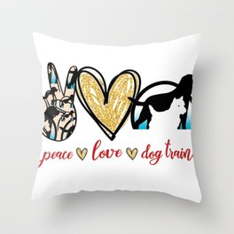 peace love Dog Trainer Throw Pillow