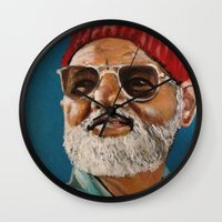 steve zissou Wall Clocks featuring Steve Zissou  by Kristin Frenzel