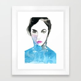 Pink Lipstick: Watercolor painting of woman in turquoise Framed Art Print