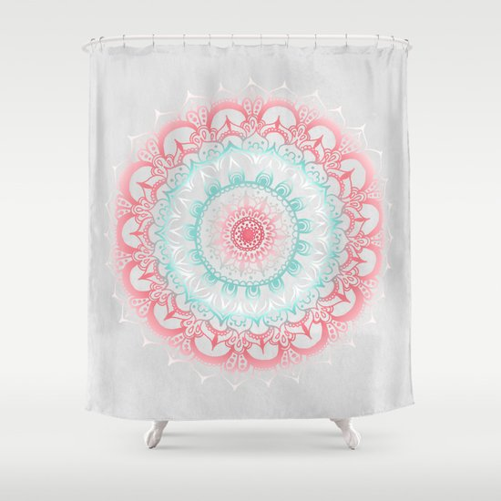 Teal Coral Glow Medallion Shower Curtain By Tangerinetane
