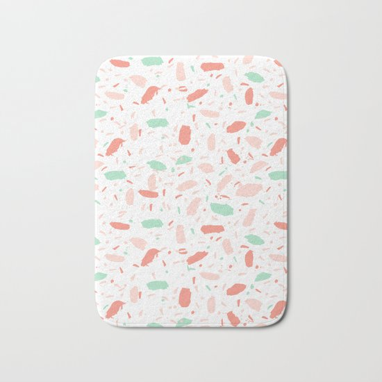Abstract minimal dots polka dots painted sprinkles trendy modern color palette Bath Mat