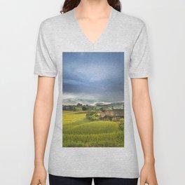 Vietnam Rice Cultivation Unisex V-Neck