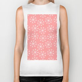 Modern hand painted coral white Christmas snow flakes Biker Tank