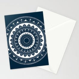 Ukatasana white mandala on blue Stationery Cards