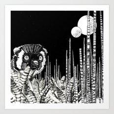 UZU JUNGLE : MOONS & THE LEMUR Art Print
