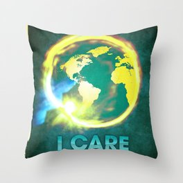 I Care / Blue Throw Pillow