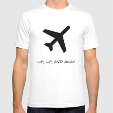 Up, Up, And Away MEDIUM White Mens Fitted Tee