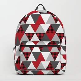 Quilt pattern buffalo check pattern red black and white with grey minimal camping Backpack