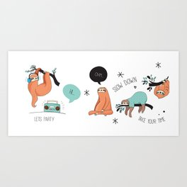 Don't Worry - Be Happy - Lazy Sloth Art Print
