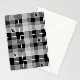 Black & White Kitty Kat Plaid Stationery Cards