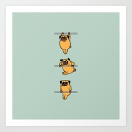Muscles Ups Pug Art Print