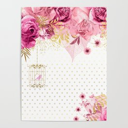 Modern Glam Chic Flowers #2 Poster