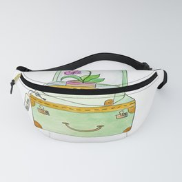 Watercolor Luggage With Orchid and Key Fanny Pack