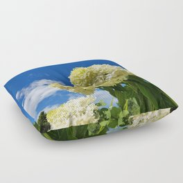 White clouds and white clouds of Hydrangea flowers Floor Pillow