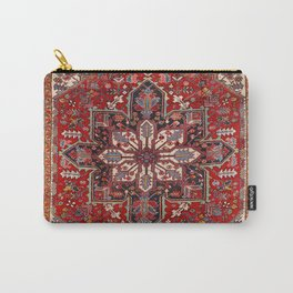Persia Heriz 19th Century Authentic Colorful Blue Red Cream Vintage Patterns Carry-All Pouch
