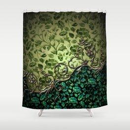 Wonderful floral design, green colors Shower Curtain