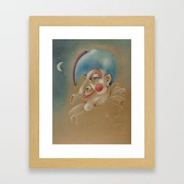 PUNCHINELLO JESTER COLORED PENCIL DRAWING Framed Art Print