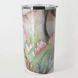 Lena Holding Proteas and Surrounded by Lotus Leaves Travel Mug