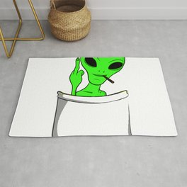 Alien in a pocket smoking weed / blunt Rug