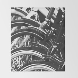 Bicycles, Bikes in Black and White Photography Throw Blanket