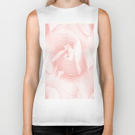 Floral coral - Romantic illusion of roses in seamless stripes Biker Tank