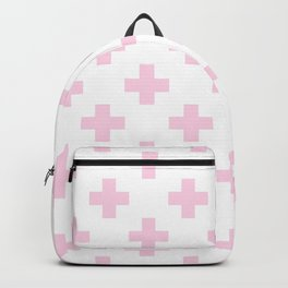Baby Pink Plus Sign Pattern Backpack
