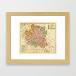 Kingdom of Poland and the Grand Dutchy of Lithuania Map (circa 1770) Framed Art Print