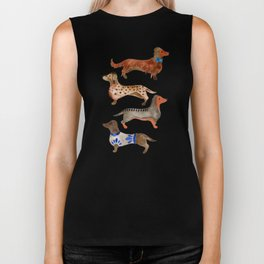 Dachshunds on Blue Biker Tank