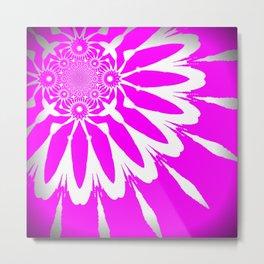 The Modern Flower Glowing Hot Pink Metal Print