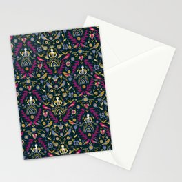 Purple and Gold Folk Milk Maid Pattern Stationery Cards