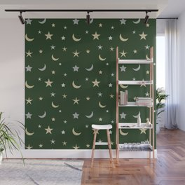 Gold and silver moon and star pattern on green background Wall Mural