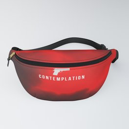edgy red clouds gun symbol Fanny Pack