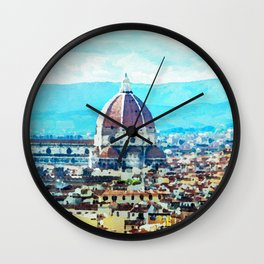 Watercolor painting of Florence Italy Wall Clock