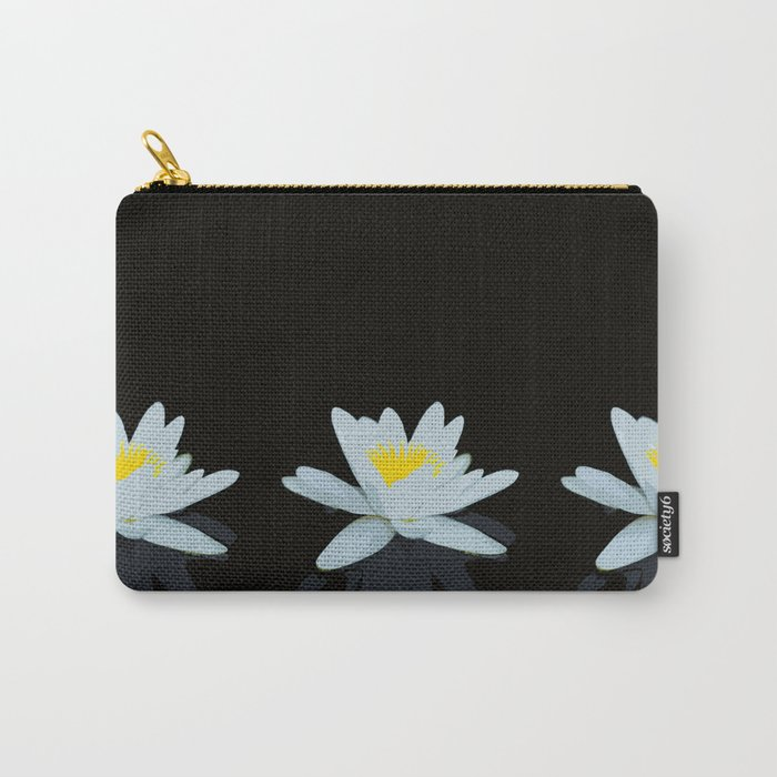 Waterlily Flowers On Black Background #decor #society6 #buyart Carry-All Pouch