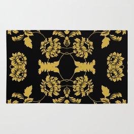 Victorian Floral (Black & Gold) Rug