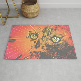 Cat Face Print Illustration, Cat Eyes Art Work, wild nature Rug