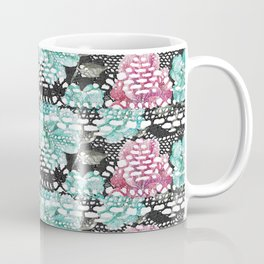Vintage black pink teal watercolor floral lace Coffee Mug